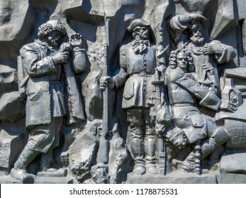 """EKATERINBURG, RUSSIA - JUNE 3, 2018: Monument-bas relief """"The founders of the city of Ekaterinburg""""."""