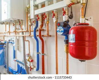 Ekaterinburg, Russia - June 6, 2018: Heating and water supply system in the house