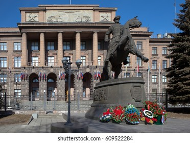 EKATERINBURG, RUSSIA — MARCH 22, 2017: Photo of Monument to Marshal Zhukov.