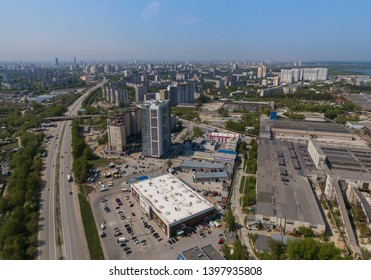 Ekaterinburg, Russia - May 13, 2019:  Top down aerial drone image of a Ekaterinburg city in the early summer, backyard turf grass and trees lush green