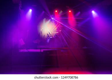 Ekaterinburg, Russia - November 03, 2018: Laser show in a nightclub. Stage lights. Soffits. Concert light