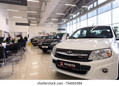 Ekaterinburg, Russia - November 08, 2017: Sale of new cars Lada Granta in the showroom