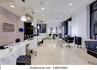 Ekaterinburg, Russia - November 11, 2018: Interior of modern manicure salon without people.