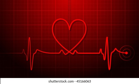 EKG - Electrocardiogram with heart shape.