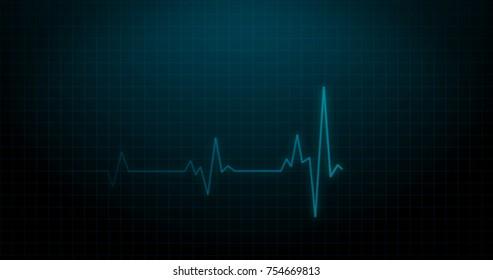 EKG Heartbeat on Monitor Recording of Pulse - Blue Healthcare 3D Rendered Illustration