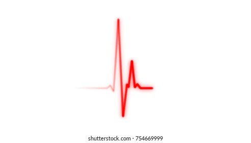 EKG Heartbeat on Monitor Recording of Pulse - Red Healthcare Rendered Illustration