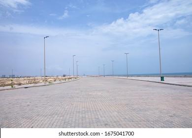 Eko Atlantic, Lagos, Nigeria - 14th March 2020: The view of Eko Alantic city road and light poles.