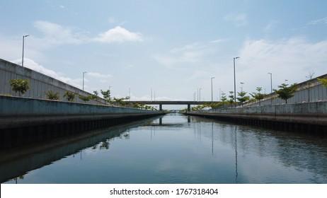 Eko Atlantic, Lagos, Nigeria - May 10, 2020: The view of Eko Atlantic Water Canal.