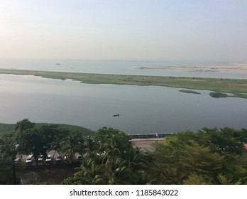 EKO Atlantic white sands on the edge of Kuramo waters in Victoria Island Lagos City where fishermen still fish