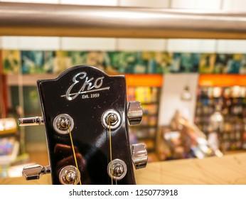 Eko Guitar Close Up Detail in a Music Instruments Shop in Milan,Italy-November 2018