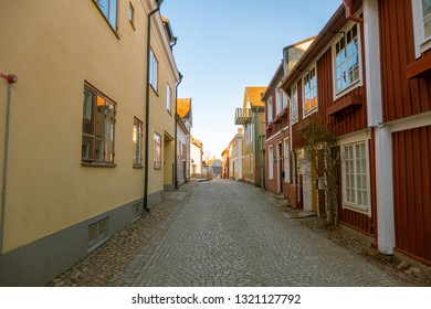 Eksjo, smaland, Sweden-January 18, 2019: Eksjo is a town in the south of Sweden with some old houses in red colors it was declared a city by  Eric of Pomerania in 1403