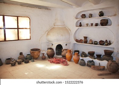 El Atteuf / Algeria - 02 Nov 2014: The interior of the arab house in the medina of El Atteuf city, Sahara desert, Algeria