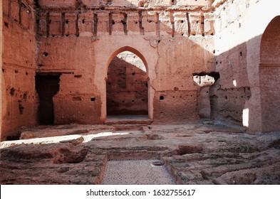 El Badi Palace (Palais el Badii), a ruined palace built in 1578. January 2019.