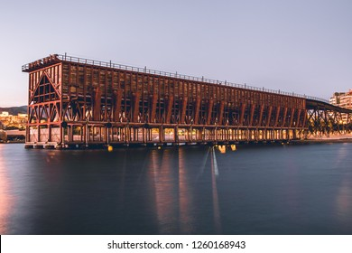 El Cable Ingles, also called Cargadero de Mineral, in Almeria: a structure that represents the iron architecture of the 20th century, at sunset.