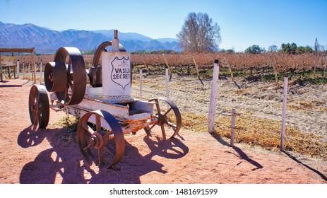 El Cafayate, Argentina - September 15, 2018: Famous El Cafayate wineries and wine tours