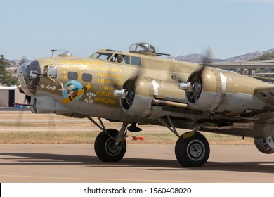 El Cajon, California, USA -  May 3, 2013: Boeing B-17G Flying Fortress World War II bomber aircraft 'Nine O Nine' taxis at Gillespie Field as  part of the Collings Foundation Wings Of Freedom Tour.