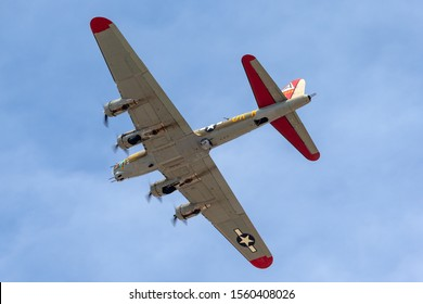 El Cajon, California, USA -  May 3, 2013: Boeing B-17G Flying Fortress World War II bomber aircraft 'Nine O Nine' flying over Gillespie Field as  part of the Collings Foundation Wings Of Freedom Tour.