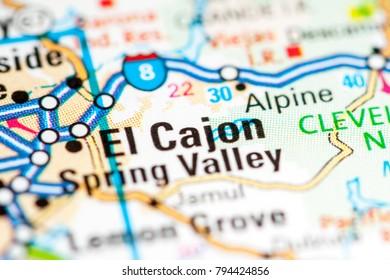 El Cajon. California. USA on a map