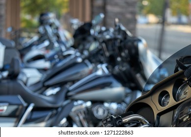 El Cajon, CA/USA - August 2, 2016: The Married with Motorcycles Group gathers for their monthly meet. It's a club of couples riding Harley Davidson motorcycles in San Diego County, CA.