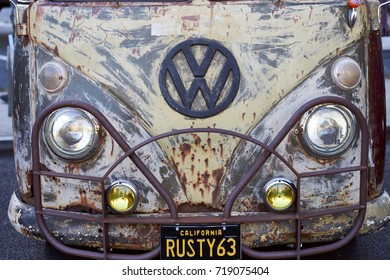 """El Cajon, CA/USA - September 14, 2016: Cajon Classic Cruise is a Southern California  car show held weekly April-October. Today's theme is VW Mania and this is a classic VW bus named """"Rusty63"""""""