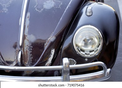 El Cajon, CA/USA - September 14, 2016: Cajon Classic Cruise is a Southern California  car show held weekly April-October. Today's theme is VW Mania and this is a black classic beetle.