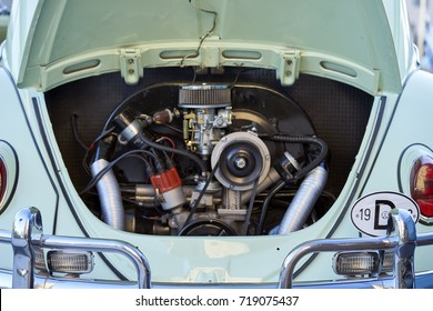 El Cajon, CA/USA - September 14, 2016: Cajon Classic Cruise is a Southern California  car show held weekly April-October. Today's theme is VW Mania and this is the rear aircooled engine of a beetle