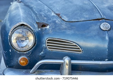 El Cajon, CA/USA - September 14, 2016: Cajon Classic Cruise is a Southern California  car show held weekly April-October. Today's theme is VW Mania and this is a weathered Karmann Ghia cabrio