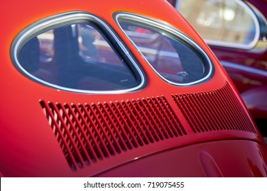 El Cajon, CA/USA - September 14, 2016: Cajon Classic Cruise is a Southern California  car show held weekly April-October. Today's theme is VW Mania and this is a classic split window beetle