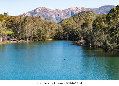 El Cajon Mountain (El Capitan) and Lake Jennings in Lakeside, California, a popular destination for boating and fishing.