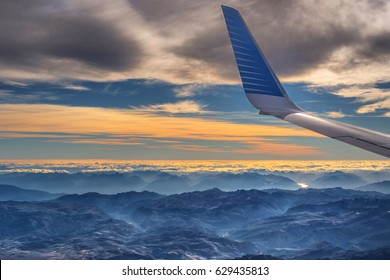 EL CALAFATE, ARGENTINA - MAR 19: Aerial view of Patagonia region of Argentina from Aerolineas Argentinas flight on March 19, 2017.