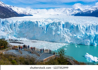 El Calafate, Argentina - Sep 29, 2018: Tourists visiting Perito Moreno Glacier in the Los Glaciares National Park in Argentina