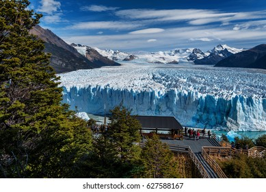 EL CALAFATE - MAR 15: Trekkers on Perito Moreno Glacier on March 15, 2017 in Patagonia, Argentina. The glacier is part of the planet's 3rd largest ice field.