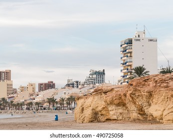 El Campello - October 3, 2015: Beautiful clean city beach of fine sand in the morning, in the fall 3 October 2015, El Campello, Costa Blanca, Spain