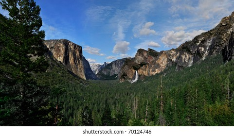 El Capitan, Bridal Veil Falls and Half Dome seen from the tunnel view