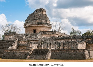 El Caracol or'The Snail', was an Astronomical Observatory in Mayan times where you can recognize the shape of a modern Astronomical Observatory, at Chichen Itza, Mayan archaeological site in Mexico