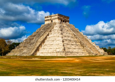 El Castillo known as the Temple of Kukulcan is a  Mesoamerican step-pyramid, Chichen Itza, Yucatan, Mexico