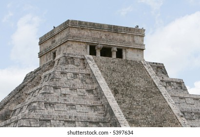 El Castillo Temple at Chichen Itza in Mexico. This is the largest of the stone temples found at this site. These ancient temples are now one one of the man made wonders of the world