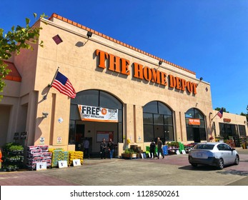 EL CERRITO, CA, USA - JUN 3, 2018: The Home Depot Store front entrance with blue sky.