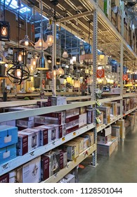 EL CERRITO, CA, USA - JUN 3, 2018: The Home Depot Store interior shopping aisles