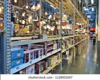 EL CERRITO, CA, USA - JUN 3, 2018: The Home Depot Store interior shopping aisles