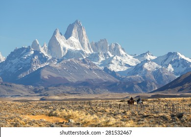 EL CHALTEN, ARGENTINA - APRIL 16: Gaucho against the backdrop of the famous mount Fitz Roy , Los Glaciares National Park, Patagonia, Argentina, April 16, 2015