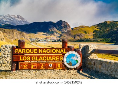 EL CHALTEN, ARGENTINA - FEBRUARY 23, 2016 : View of Village of El Chalten and the Los Glaciares National Park sign in Argentina