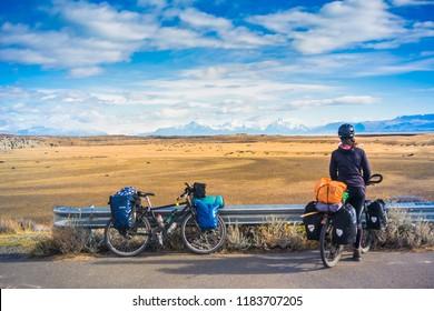 El Chalten / Santa Cruz / Argentina - April 08, 2018: Bicycle tour at Patagonia.