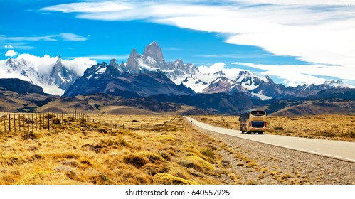 EL CHALTEN.ARGENTINA - 31 January, 2017: Road to El Chalten. Mounts Fitzroy and Cerro Torre. Andes. Argentina. A popular place among tourists.