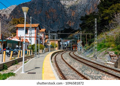 El Chorro, Spain, April 04, 2018:  railway station in the village of el chorro at the end of trail of Caminito Del Rey, Spain