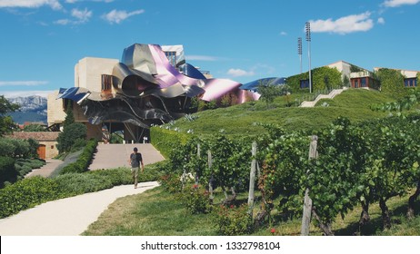 El Ciego, Alava, Basque Country, Spain, July 2012. Hotel, wineries and vineyards, Marques de Riscal, internationally famous for its wines