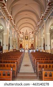 EL COBRE, CUBA - CIRCA AUGUST 2015: Interior of the famous basilica of El Cobre, located 20 km from Santiago de Cuba, Cuba.
