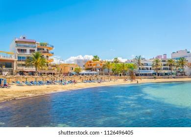 EL COLL D'EN RABASSA, SPAIN, MAY 19, 2017: Beach at El Coll d'en Rabassa, Mallorca, Spain