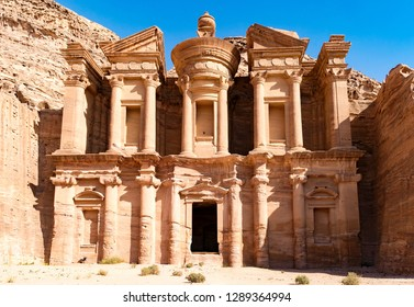 El Deir monastery is located on the top of mount Jebel El Deir. City of Petra. Jordan.