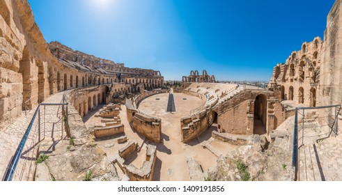 EL DJEM, TN - MARCH 19, 2017:  Amphitheatre of El Jem, an oval amphitheatre in the city of El Djem, Tunisia. It is listed by UNESCO since 1979 as a World Heritage Site.